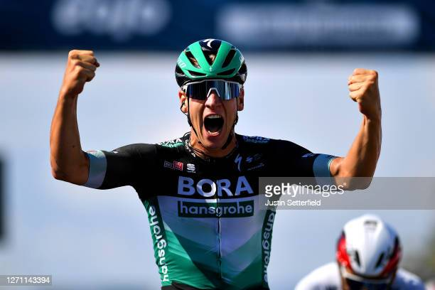 Arrival / Pascal Ackermann of Germany and Team Bora-Hansgrohe / Celebration / during the 55th Tirreno-Adriatico 2020, Stage 1 a 133km stage from Lido...