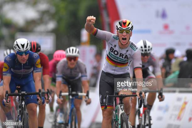 Arrival / Pascal Ackermann of Germany and Team Bora-Hansgrohe / Celebration / Fabio Jakobsen of The Netherlands and Team Quick-Step Floors / during...