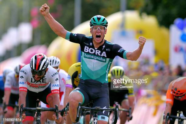 Arrival / Pascal Ackermann of Germany; and Team Bora-Hansgrohe / Celebration / Fernando Gaviria of Colombia and UAE - Team Emirates / during the 76th...