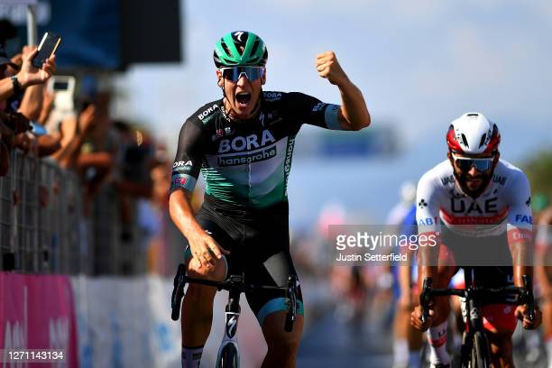 Arrival / Pascal Ackermann of Germany and Team Bora-Hansgrohe / Celebration / Fernando Gaviria Rendon of Colombia and UAE Team Emirates / during the...