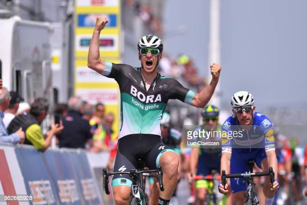 Arrival / Pascal Ackermann of Germany and Team Bora-Hansgrohe / Celebration / Michael Morkov of Denmark and Team Quick-Step Floors / during the 72nd...