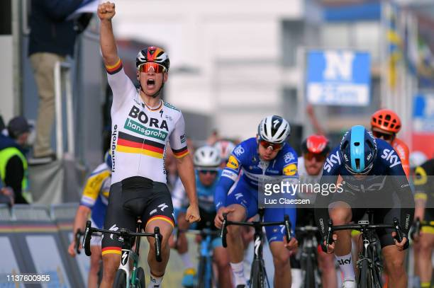 Arrival / Pascal Ackermann of Germany and Team Bora-Hansgrohe / Celebration / Kristoffer Halvorsen of Norway and Team Sky / Alvaro Jose Hodeg Chagui...
