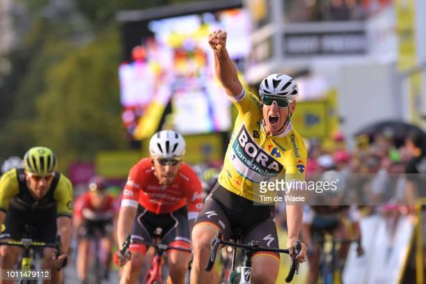 Arrival / Pascal Ackermann of Germany and Team Bora-Hansgrohe Yellow Leader Jersey / Celebration / Giacomo Nizzolo of Italy and Team Trek - Segafredo...