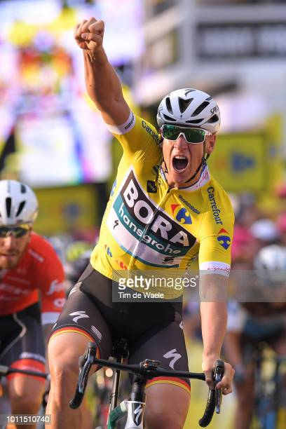 Arrival / Pascal Ackermann of Germany and Team Bora-Hansgrohe Yellow Leader Jersey / Celebration / Giacomo Nizzolo of Italy and Team Trek - Segafredo...