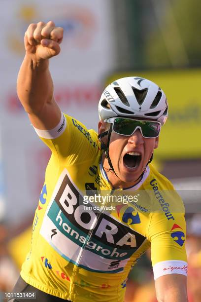 Arrival / Pascal Ackermann of Germany and Team Bora-Hansgrohe Yellow Leader Jersey / Celebration / during the 75th Tour of Poland 2018, Stage 2 a...