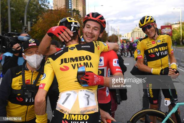 Arrival / Paul Martens of Germany and Team Jumbo - Visma / Primoz Roglic of Slovenia and Team Jumbo - Visma Red Leader Jersey / Robert Gesink of The...