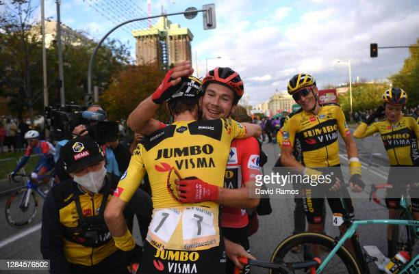 Arrival / Paul Martens of Germany, Primoz Roglic of Slovenia Red Leader Jersey, Robert Gesink of The Netherlands and Jonas Vingegaard Rasmussen of...