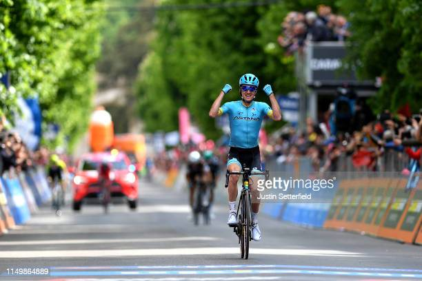 L'AQUILA ITALY MAY 17 Arrival / Pello Bilbao of Spain and Astana Pro Team / Celebration / during the 102nd Giro d'Italia 2019 Stage 7 a 185km stage...