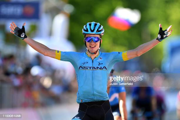 Arrival / Pello Bilbao of Spain and Astana Pro Team / Celebration / during the 102nd Giro d'Italia 2019 Stage 20 a 194km stage from Feltre to Croce...
