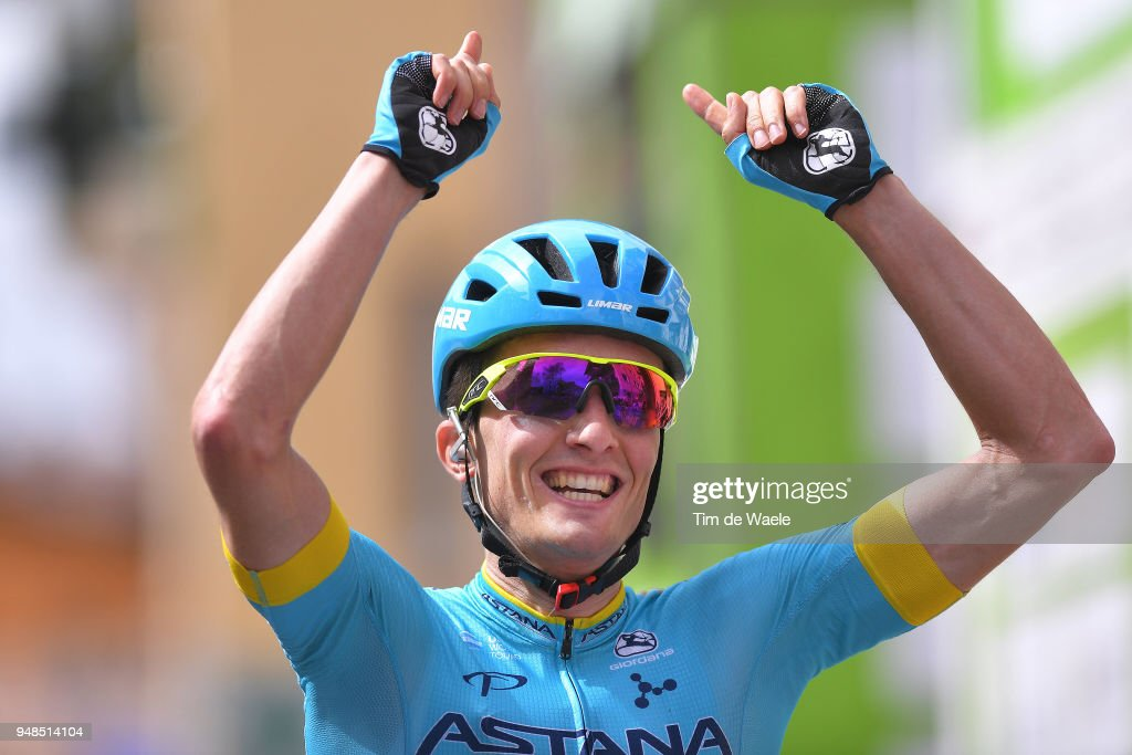 Arrival / Pello Bilbao of Spain and Astana Pro Team / Celebration / during the 42nd Tour of the Alps 2018, Stage 1 a 134,6km stage from Arco to Folgaria 1160m on April 16, 2018 in Folgaria, Italy.