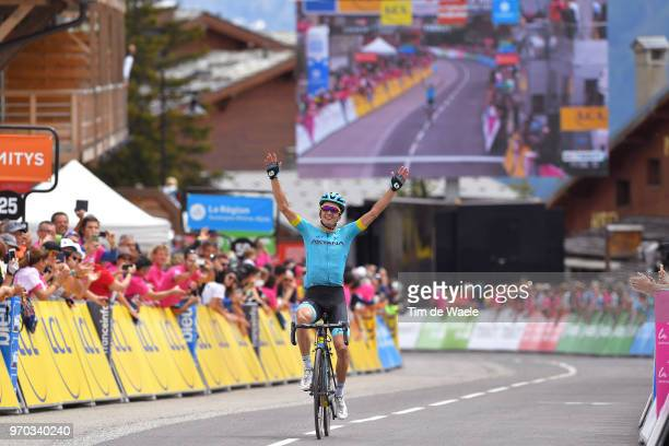 Arrival / Pello Bilbao of Spain and Astana Pro Team / Celebration / during the 70th Criterium du Dauphine 2018 Stage 6 a 110km stage from Frontenex...