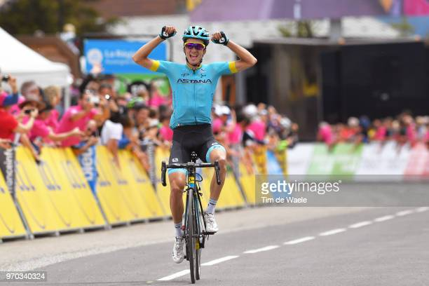 Arrival / Pello Bilbao of Spain and Astana Pro Team / Celebration / during the 70th Criterium du Dauphine 2018, Stage 6 a 110km stage from Frontenex...
