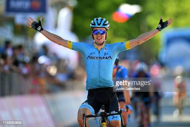 Arrival / Pello Bilbao of Spain and Astana Pro Team / Celebration / Mikel Landa Meana of Spain and Movistar Team / during the 102nd Giro d'Italia...