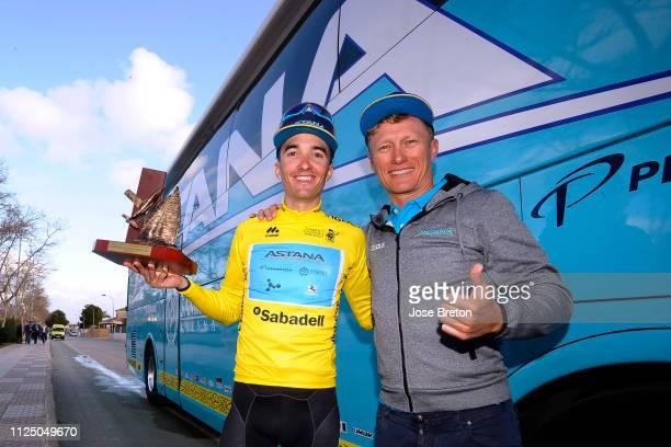 Arrival / Pello Bilbao of Spain and Astana Pro Team Yellow Leader Jersey / Alexander Vinokourov of Kazakstan General manager Astana Pro Team /...