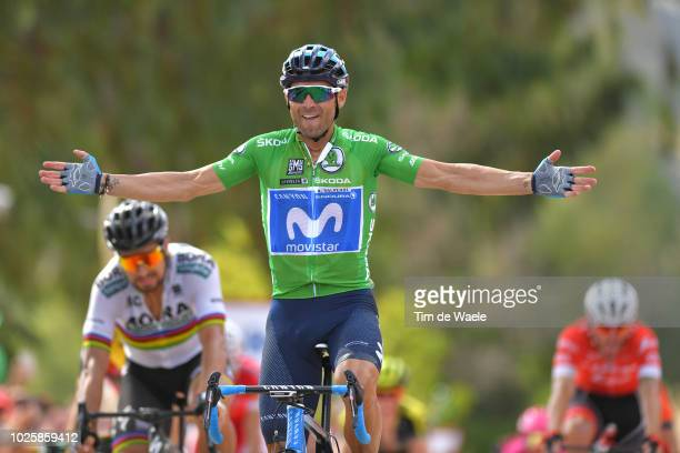 Arrival / Peter Sagan of Slovakia and Team Bora Hansgrohe / Alejandro Valverde of Spain and Movistar Team Green Sprint Jersey / Celebration / during...