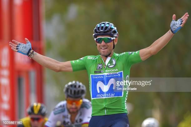 Arrival / Peter Sagan of Slovakia and Team Bora Hansgrohe / Alejandro Valverde of Spain and Movistar Team Green Sprint Jersey / Celebration / during...