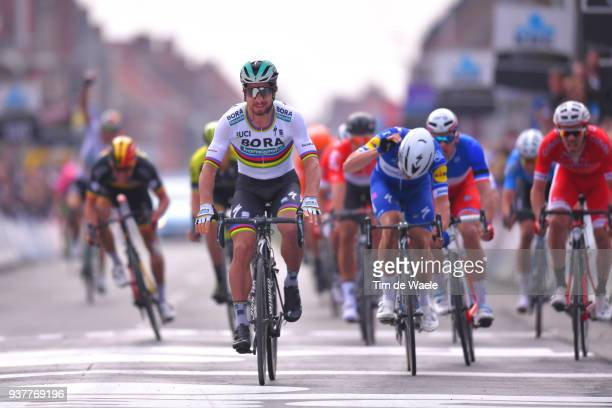 Arrival / Peter Sagan of Slovakia and Team Bora Hansgrohe / Celebration / Elia Viviani of Italy and Team Quick-Step Floors / Disappointment / Arnaud...