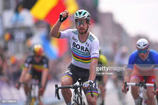 Arrival / Peter Sagan of Slovakia and Team Bora Hansgrohe / Celebration / during the 80th GentWevelgem In Flanders Fields 2018 a 2508km race from...