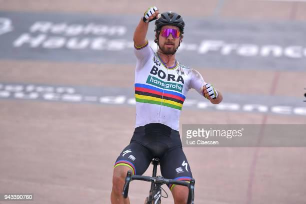Arrival / Peter Sagan of Slovakia and Team Bora Hansgrohe / Celebration / Track Roubaix Velodrome / during the 116th Paris Roubaix 2018 a 257km race...