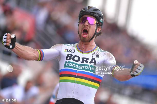 Arrival / Peter Sagan of Slovakia and Team Bora Hansgrohe / Celebration / during the 116th Paris Roubaix 2018 a 257km race from Compiegne to Roubaix...