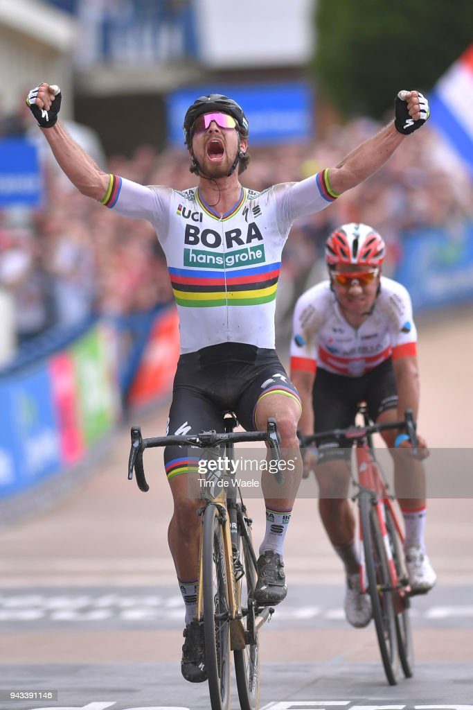 Arrival / Peter Sagan of Slovakia and Team Bora - Hansgrohe / Celebration / Silvan Dillier of Switzerland and Team AG2R La Mondiale / during the 116th Paris - Roubaix 2018 a 257km race from Compiegne to Roubaix on April 8, 2018 in Roubaix, France.