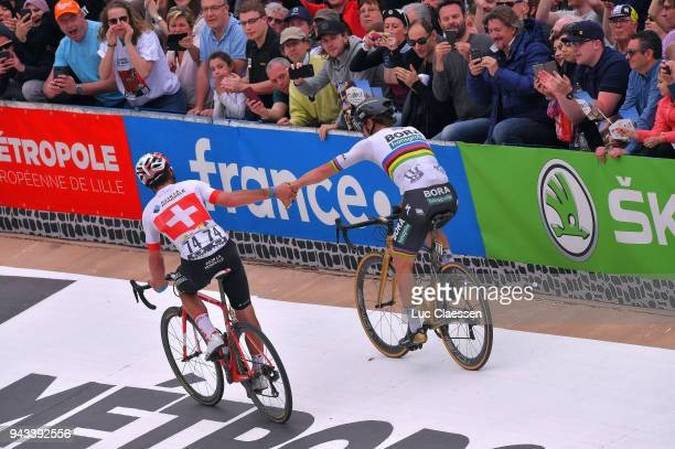 Arrival / Peter Sagan of Slovakia and Team Bora - Hansgrohe / Celebration / Silvan Dillier of Switzerland and Team AG2R La Mondiale / Track Roubaix...