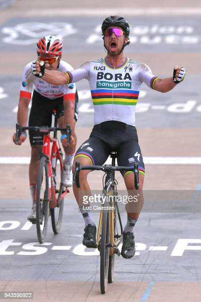 Arrival / Peter Sagan of Slovakia and Team Bora Hansgrohe / Celebration / Silvan Dillier of Switzerland and Team AG2R La Mondiale / Track Roubaix...