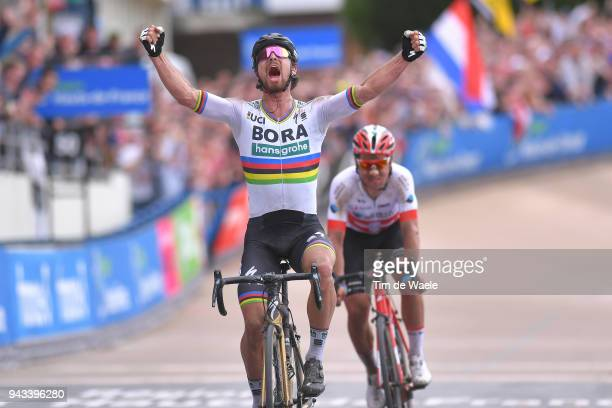 Arrival / Peter Sagan of Slovakia and Team Bora - Hansgrohe / Celebration / Silvan Dillier of Switzerland and Team AG2R La Mondiale / Track Roubaix...