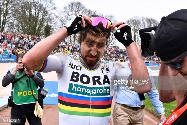 Arrival / Peter Sagan of Slovakia and Team Bora Hansgrohe / Celebration / during the 116th Paris to Roubaix 2018 a 257km race from Compiegne to...