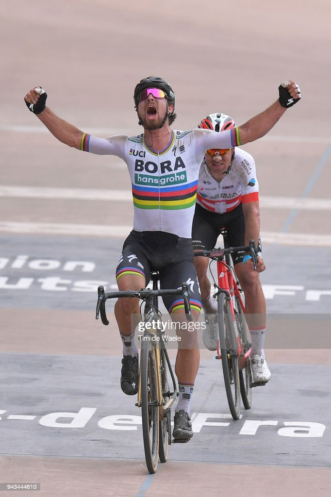 Arrival / Peter Sagan of Slovakia and Team Bora - Hansgrohe / Celebration / Silvan Dillier of Switzerland and Team AG2R La Mondiale / during the 116th Paris to Roubaix 2018 a 257km race from Compiegne to Roubaix on April 8, 2018 in Roubaix, France.