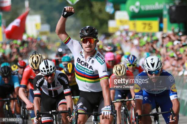 Arrival / Peter Sagan of Slovakia and Team Bora Hansgrohe / Celebration / Fernando Gaviria of Colombia and Team QuickStep Floors / Nathan Haas of...