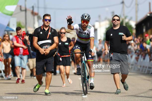 Arrival / Peter Sagan of Slovakia and Team Bora Hansgrohe / during the 73rd Tour of Spain 2018 Stage 10 a 177km stage from Salamanca VIII Centenario...