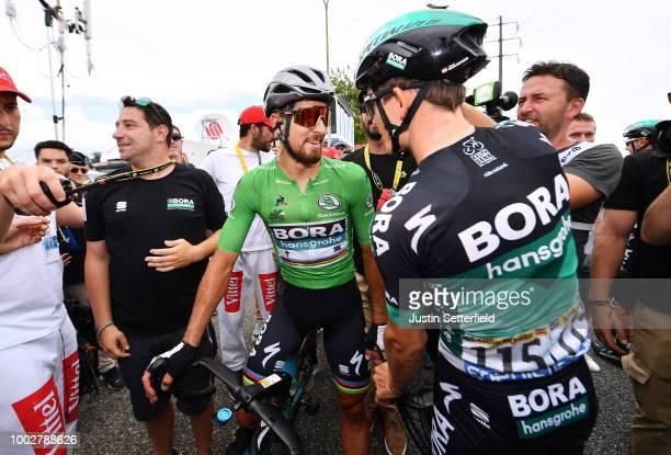 Arrival / Peter Sagan of Slovakia and Team Bora Hansgrohe Green Sprint Jersey / Gregor Muhlberger of Austria and Team Bora Hansgrohe / Celebration /...
