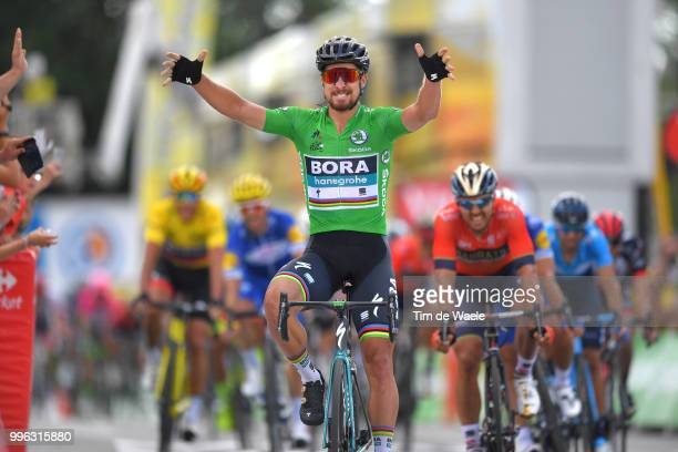 Arrival / Peter Sagan of Slovakia and Team Bora Hansgrohe Green Sprint Jersey Celebration / Sonny Colbrelli of Italy and Bahrain Merida Pro Team...