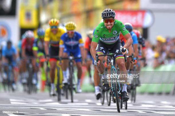 Arrival / Peter Sagan of Slovakia and Team Bora Hansgrohe Green Sprint Jersey Celebration / during the 105th Tour de France 2018 Stage 5 a 2045km...