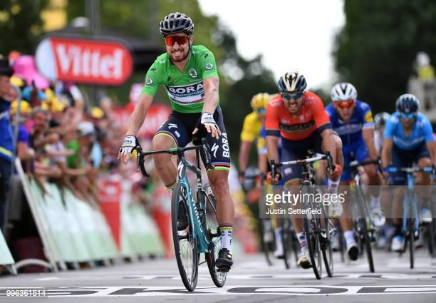Arrival / Peter Sagan of Slovakia and Team Bora Hansgrohe Green Sprint Jersey / Celebration / Sonny Colbrelli of Italy and Bahrain Merida Pro Team /...