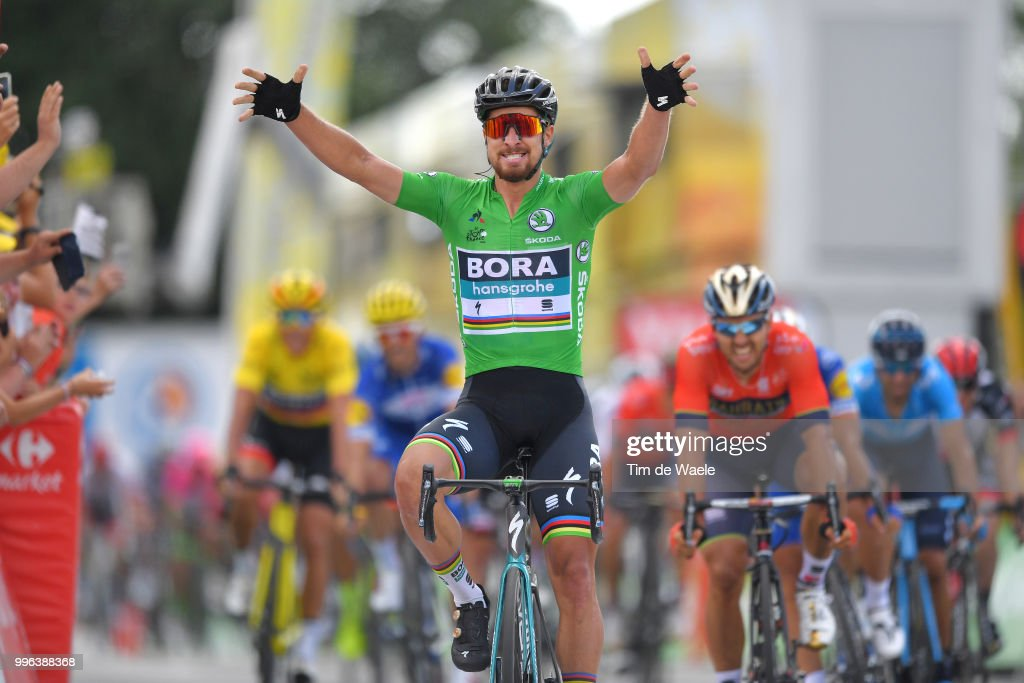 Arrival / Peter Sagan of Slovakia and Team Bora Hansgrohe Green Sprint Jersey Celebration / Sonny Colbrelli of Italy and Bahrain Merida Pro Team / during the 105th Tour de France 2018, Stage 5 a 204,5km stage from Lorient to Quimper / TDF / on July 11, 2018 in Quimper, France.