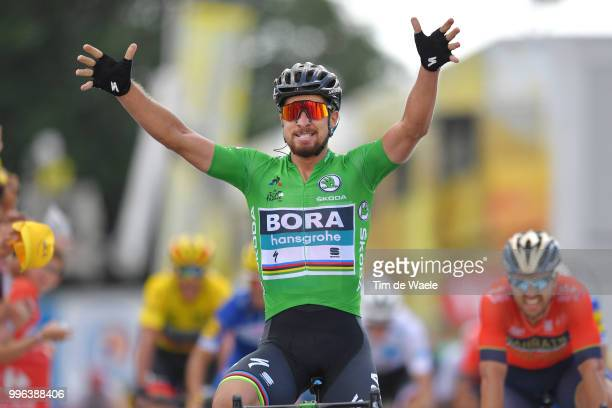 Arrival / Peter Sagan of Slovakia and Team Bora Hansgrohe Green Sprint Jersey Celebration / Sonny Colbrelli of Italy and Bahrain Merida Pro Team /...