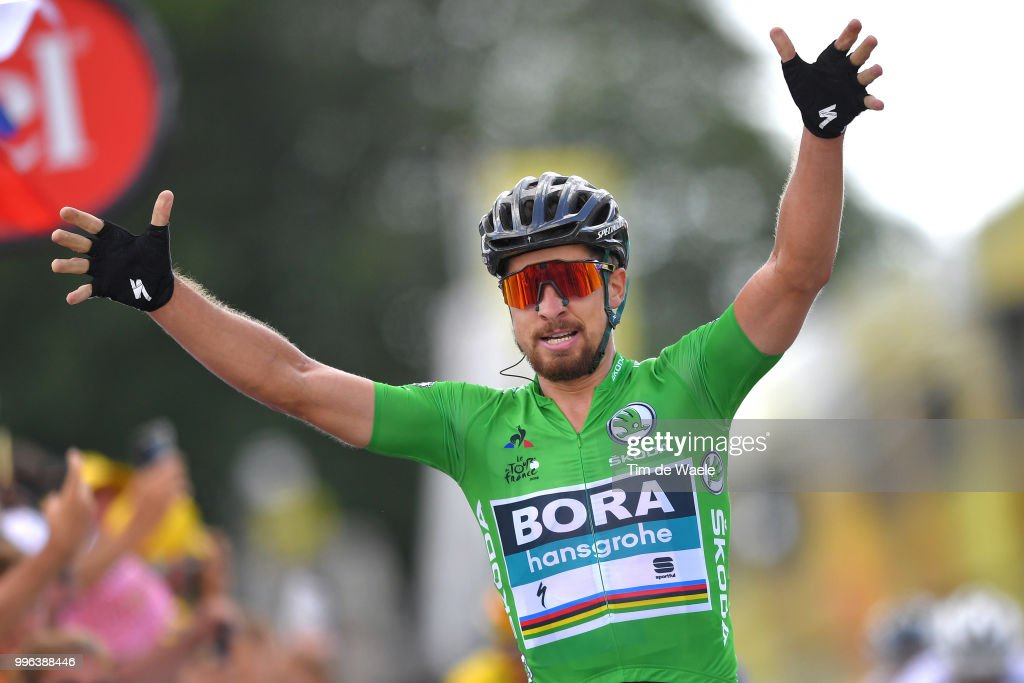Arrival / Peter Sagan of Slovakia and Team Bora Hansgrohe Green Sprint Jersey Celebration / during the 105th Tour de France 2018, Stage 5 a 204,5km stage from Lorient to Quimper / TDF / on July 11, 2018 in Quimper, France.