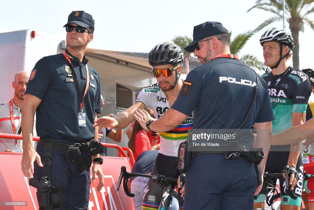Arrival / Peter Sagan of Slovakia and Team Bora - Hansgrohe / Marcus Burghardt of Germany and Team Bora - Hansgrohe / Stopped by police during the 73rd Tour of Spain 2018, Stage 5 a 188,7km stage from Granada to Roquetas de Mar / La Vuelta / on August 29, 2018 in Roquetas de Mar, Spain.