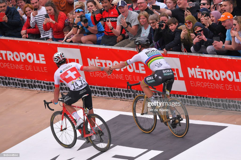 Arrival / Peter Sagan of Slovakia and Team Bora - Hansgrohe / Silvan Dillier of Switzerland and Team AG2R La Mondiale / Celebration / during the 116th Paris to Roubaix 2018 a 257km race from Compiegne to Roubaix on April 8, 2018 in Roubaix, France.