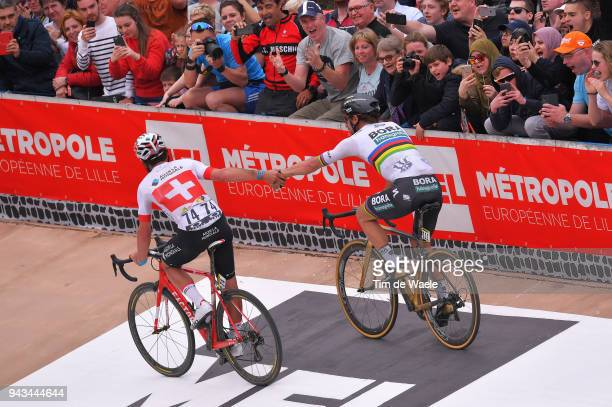 Arrival / Peter Sagan of Slovakia and Team Bora Hansgrohe / Silvan Dillier of Switzerland and Team AG2R La Mondiale / Celebration / during the 116th...