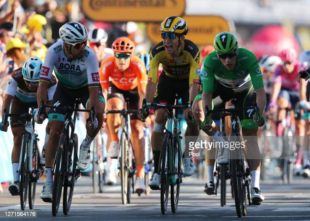 Arrival / Peter Sagan of Slovakia and Team Bora - Hansgrohe / Wout Van Aert of Belgium and Team Jumbo - Visma / Disappointment / Sam Bennett of...
