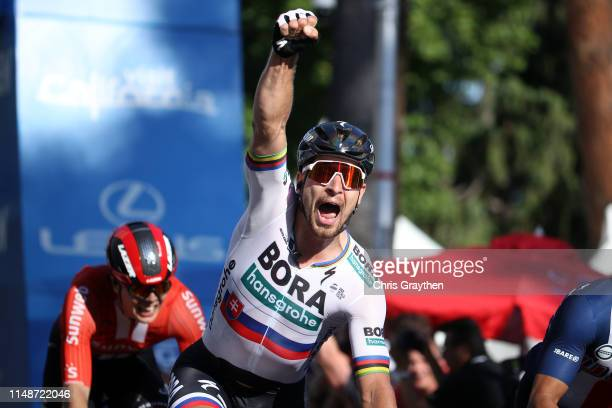 Arrival / Peter Sagan of Slovakia and Team Bora-Hansgrohe / celebrates after winning over Travis Mccabe of The United States and Team of The United...