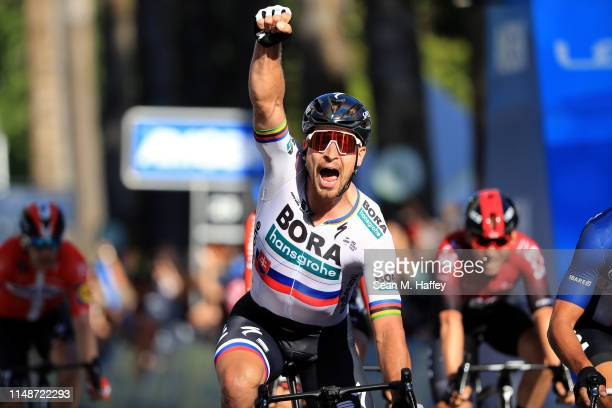 Arrival / Peter Sagan of Slovakia and Team Bora-Hansgrohe / celebrates after winning the 14th Amgen Tour of California 2019, Stage 1 a 143km stage...