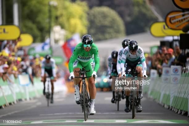 Arrival / Peter Sagan of Slovakia and Team Bora-Hansgrohe Green Sprint Jersey / Emanuel Buchmann of Germany and Team Bora-Hansgrohe / Marcus...