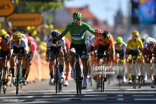 Arrival / Peter Sagan of Slovakia and Team Bora-Hansgrohe Green Sprint Jersey Celebration / Wout Van Aert of Belgium and Team Jumbo-Visma White Best...