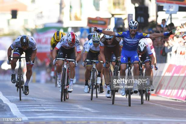 Arrival / Peter Sagan of Slovakia and Team BoraHansgrohe / Michal Kwiatkowski of Poland and Team Sky / Wout Van Aert of Belgium and Team JumboVisma /...