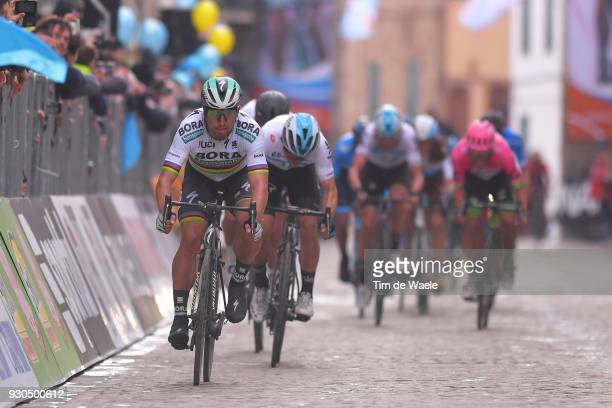 Arrival / Peter Sagan of Slovakia / during the 53rd TirrenoAdriatico 2018 Stage 5 a 178km stage from Castelraimondo to Filottrano 269mon March 11...