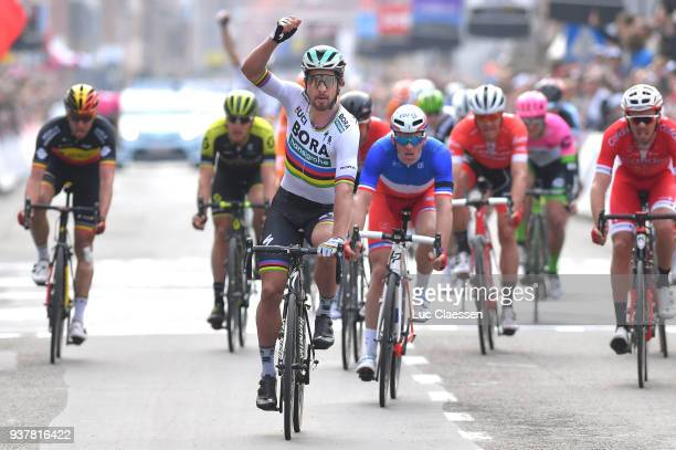 Arrival / Peter Sagan of Slowakia Celebration / Arnaud Demare of France / during the 80th GentWevelgem In Flanders Fields 2018 a 2508km race from...